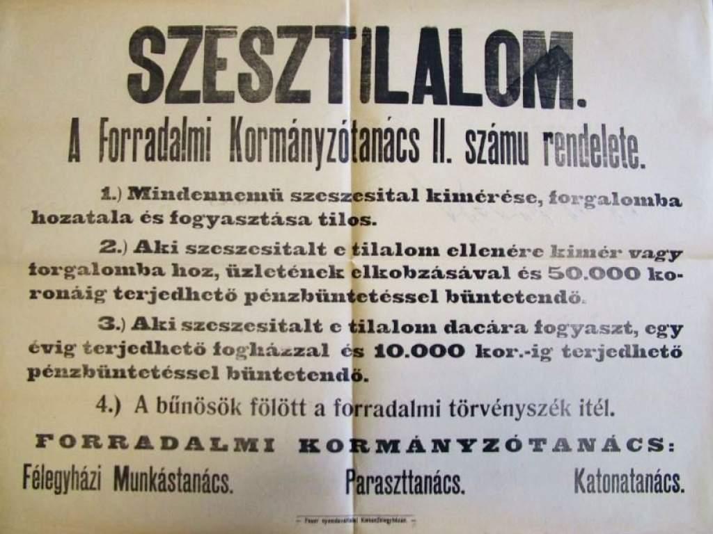 Titkok a levéltárból – Szesztilalom 1919-ben