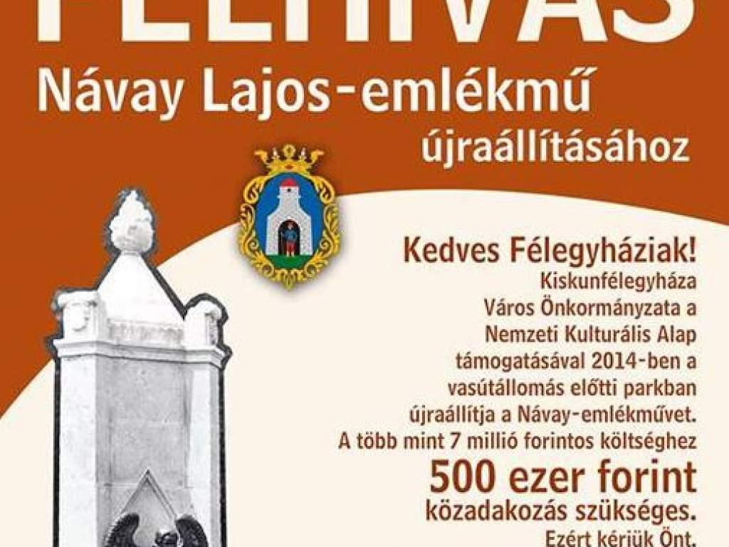 Felhívás Návay Lajos-emlékmű újraállításához