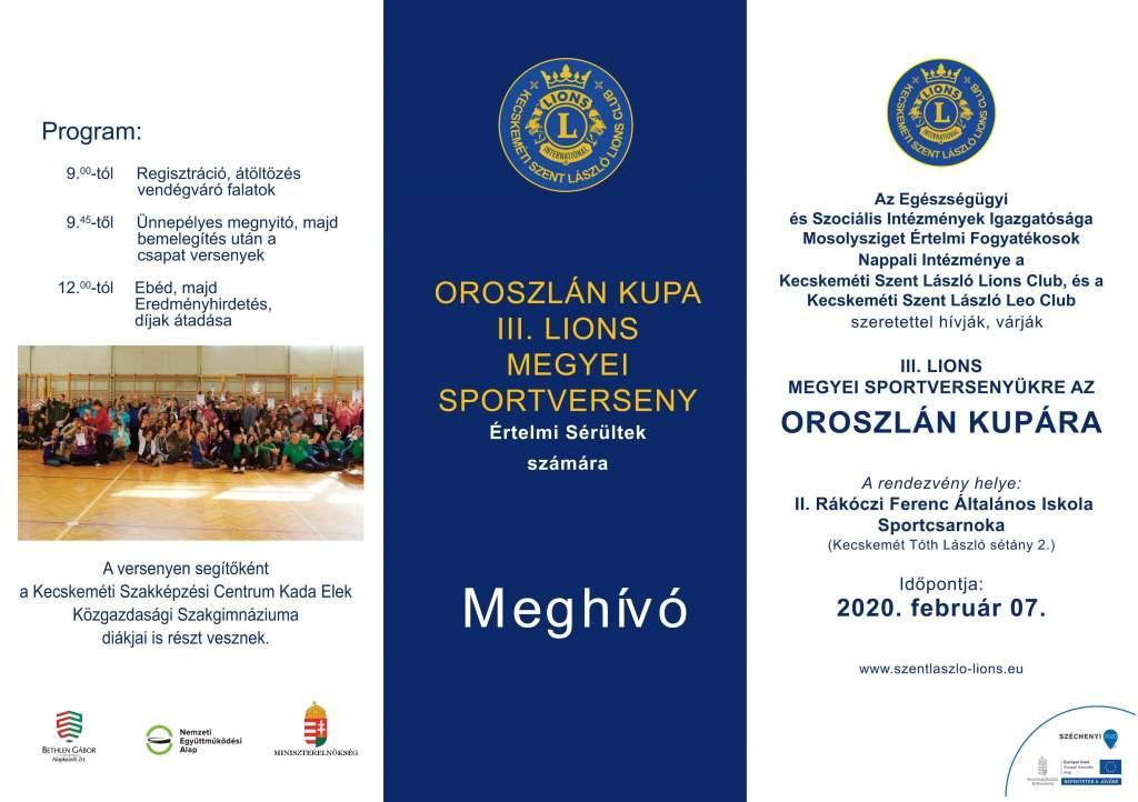 Oroszlán Kupa – III. Lions Megyei Sportverseny