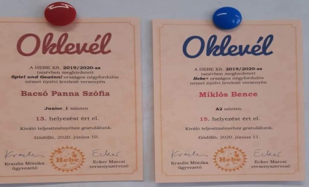 Mezgés siker a német nyelvi levelező versenyen