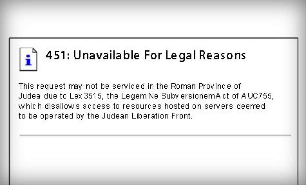 451-es kód jelöli ezután a jogellenes internetes tartalmak tiltását