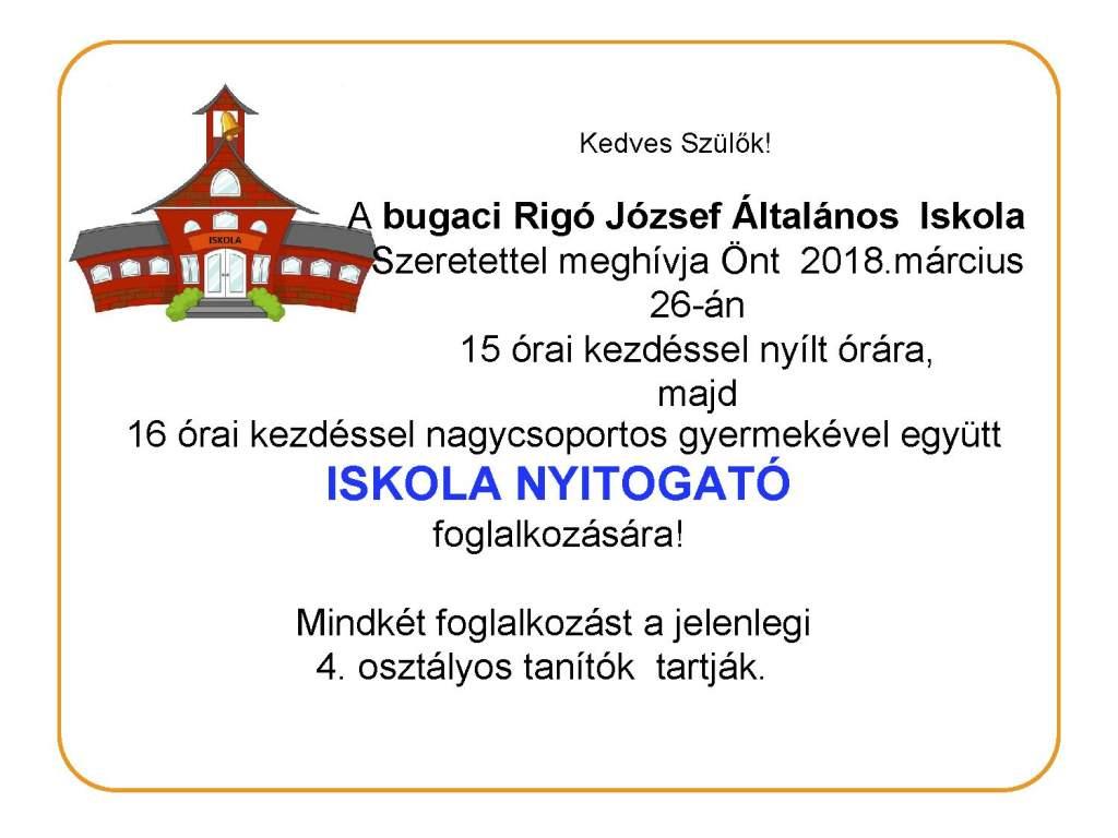 Iskolanyitogató a bugaci Rigó József Általános Iskolában